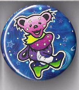 Grateful Dead Stars Amp Moon Dancing Bear Button