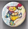 Grateful Dead - Rose Carrying Dancing Bear Button