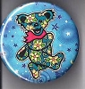 Grateful Dead - Blue/Green Dancing Bear w/ Flowers Button