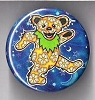 Grateful Dead - Yellow Dancing Bear with Daises Button