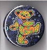 Grateful Dead - Orange Flowered Dancing Bear Button