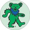 Grateful Dead - Green on Green Dancing Bear Button