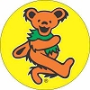 Grateful Dead - Orange on Yellow Dancing Bear Button