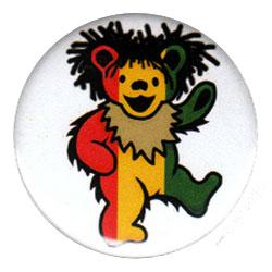 Grateful Dead Rasta Dancing Bear Button