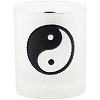 Etched Glass Yin Yang Votive Candle Holder