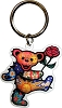 Grateful Dead - Dancing Bear with Rose Keychain