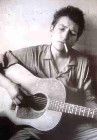 Bob Dylan Young Guitar Poster