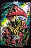 Mushroom & Caterpillar Blacklight Poster