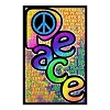 Peace, Love, and Happiness Blacklight Poster