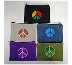 Embroidered Peace Coin Pouch