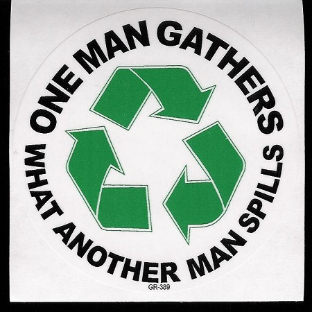 One Man Gathers Recycle Sticker