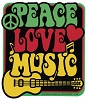 Peace, Love, & Music Sticker