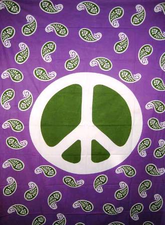 Paisley Peace Sign Tapestry