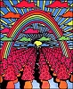 Mushroom Rainbow Blacklight Tapestry
