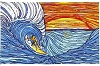 Sunset Surfer Tapestry Wall Hanging
