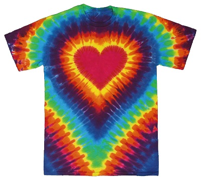 Rainbow heart tie dye t shirt sunshine daydream hippie shop for How to dye a shirt red