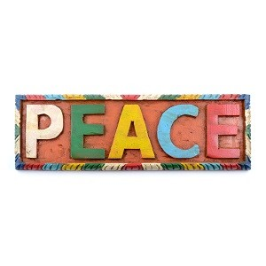 Hand Painted Peace Wooden Sign