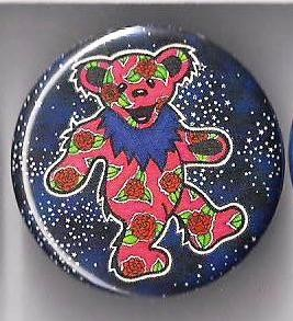 Grateful Dead - Red Roses Dancing Bear Button