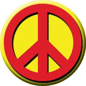 Red & Yellow Peace Button