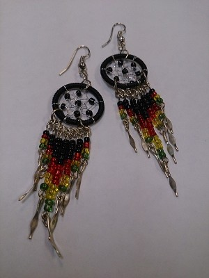 Beaded Rasta Dreamcatcher Earrings