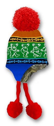 Grateful Dead - Dancing Bears Rainbow Knit Flap Hat