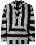 Black Striped Mexican Baja  Hoodie Pullover