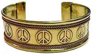 Copper Bracelet With Peace Signs