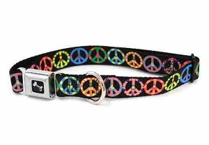 Multi Color Peace Sign Dog Collar