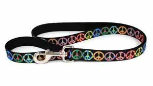 Multi Color Peace Sign Dog Leash