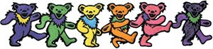 "Grateful Dead - 6 Dancing Bears 9"" Iron On Patch"