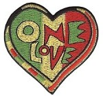 One Love Rasta Heart Patch