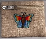 Butterfly Embroidered Hemp Coin Pouch
