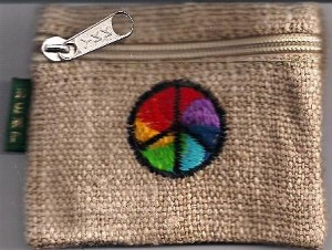 Peace Sign Embroidered Hemp Coin Pouch