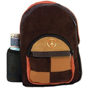 Peace Sign Corduroy Backpack