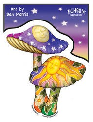 Psychedelic Mushrooms Sticker By Dan Morris