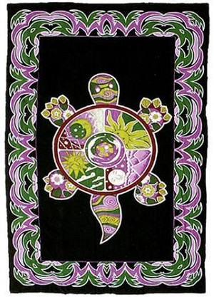 Psychedelic Turtle Tapestry