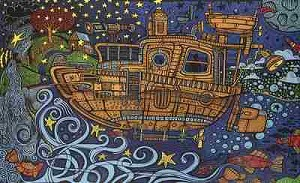 Trippy 3D Tugboat Tapestry