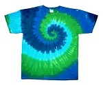 Blue & Green Spiral Tie Dye Youth T-Shirt