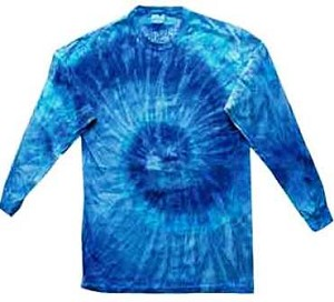 Blue Jerry Tie Dye Long Sleeve Adult T-Shirt