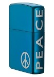 Peace on the Side Sapphire Zippo Lighter