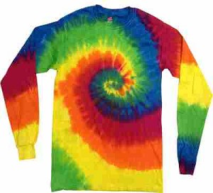 Rainbow Spiral Tie Dye Long Sleeve Adult T-Shirt